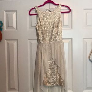 Gold white high low dress